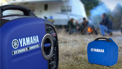 Yamaha EF2000iS portable inverter generator at a camping site