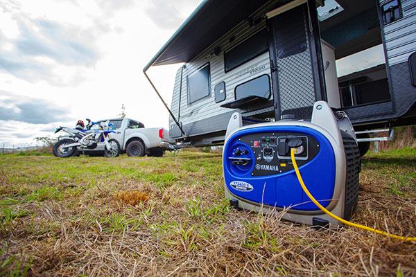 Yamaha EF2400iS generator powering up a caravan