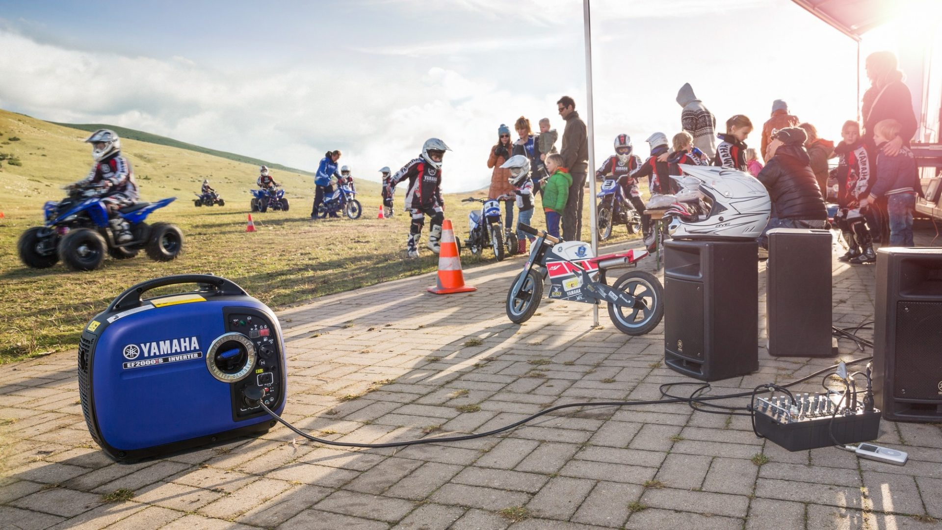 Yamaha EF2000iS portable inverter generator at a motorcross & ATV event