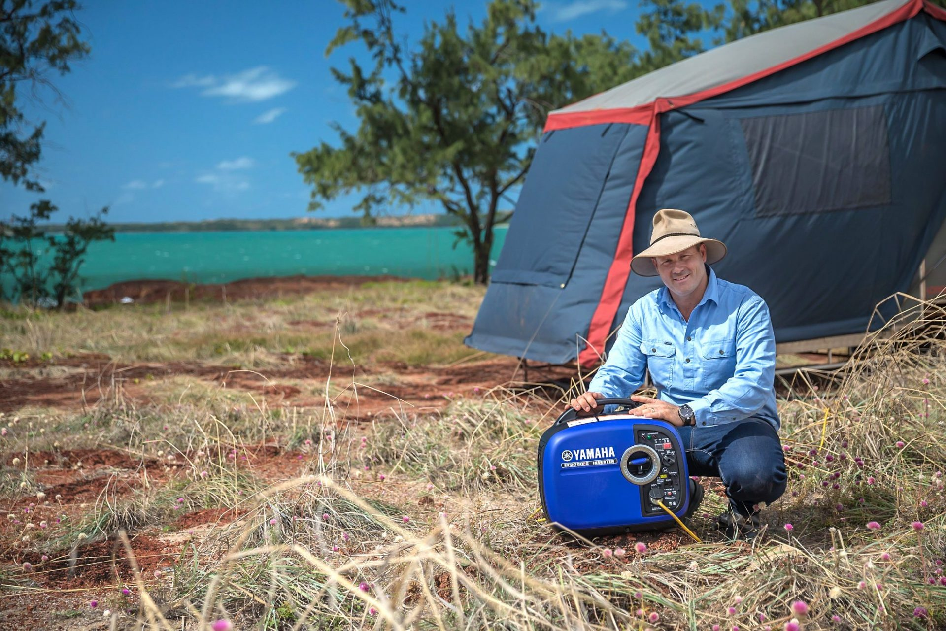 Pat Callinan camping with a Yamaha EF2000iS generator