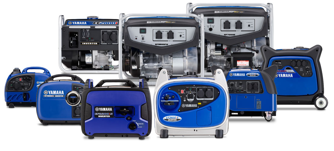 Group photo of Yamaha generators range