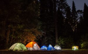 Camping tents with lights in the woods