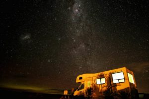 RV / Caravan parked under starry sky