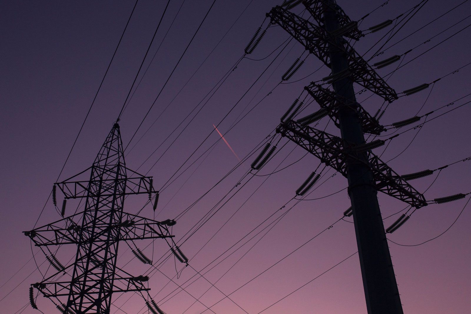 power lines at dusk